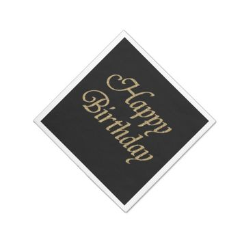 Modern Black and Gold Glitter Happy Birthday Paper Napkin