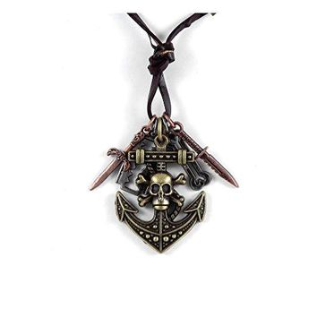BodyJ4You Men Pu Leather Charms Necklace with Anchor Skull Pendant Jewelry