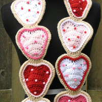 Crocheted Valentine's Day/Sweetest Day Frosted Sugar Cookies Scarf, Ready to Ship, Cute Accessory