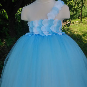 Flower girl tutu dress – wedding tutu dress – birthday tutu dress – white and blue tutu dress – pageant dress – tutu dress