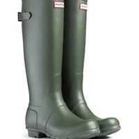 HUNTER TALL HUNTRESS ORIGINAL GREEN WELLINGTON BOOTS GARDENING WIDE Welly BN