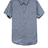 Short Sleeved Chambray Shirt Blue/Red X-Large