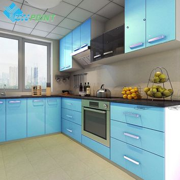 60cmX3m Kitchen Cabinet Renovation Stickers Blue DIY Decorative Film Glossy PVC Self adhesive Wallpapers Roll Waterproof Paper