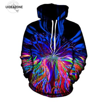 UIDEAZONE New Psychedelic Hoodie Music Festival Light Show Trippy Clothes Raver Wear Art Print EDM Sublimation Hoodies Plus Size