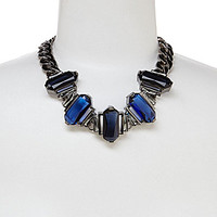 Vince Camuto Chain and Baguette Stone Frontal Necklace - Silver/Black/