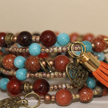 Wrap bracelet Memory Wire, Desert sand beads, Agate Gemstone beads, glass beads and charms