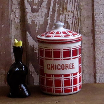 Vintage French Enamel Chicoree Canister, Red Checked Graniteware, Enamelware Chicory Jar, Kitchen Storage Container, Depose, Rustic Decor