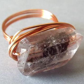 Quartz Ring, Black Tourmaline Ring, Copper Ring, Wire Wrapped Ring, Unique Ring, Gift for Best Friend, Gothic Ring, East West Ring