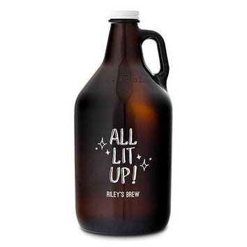 Personalized Glass Beer Growler - All Lit Up! Printing (Pack of 1)