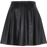 River Island Womens Black leather-look skater skirt
