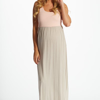 Beige-Pale-Pink-Colorblock-Maternity-Maxi-Dress