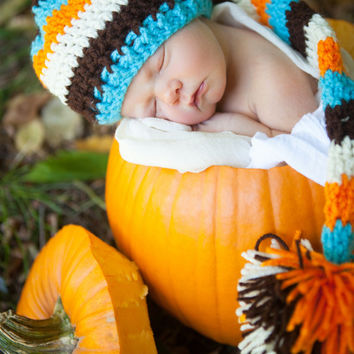 crochet elf hat long tailed baby boy photo prop Autumn
