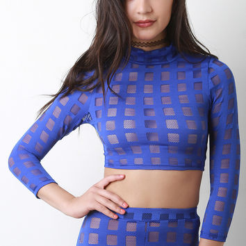 Semi-Sheer Fishnet Grid Mock Neck Crop Top