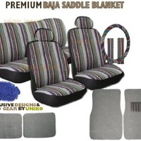 Baja Inca Saddle Blanket Seat Cover Set - 12pc Front Rear Headrests
