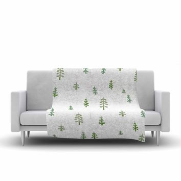 "Jennifer Rizzo ""Watercolor Pine Trees"" Green White Nature Abstract Watercolor Painting Fleece Throw Blanket"