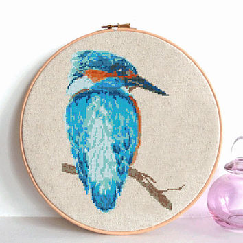 Kingfisher cross stitch pattern, Modern cross stitch pattern, Watercolor kingfisher counted cross stitch chart, Watercolor bird, nature