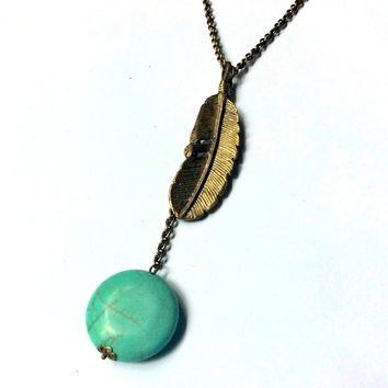 feather pendant and turquoise blue round turquenite stone long Y drop necklace