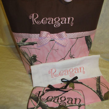FREE SHIPPING Custom Handmade Realtree pink camo camouflage diaper bag set with travel wipes and burp cloth, you choose name