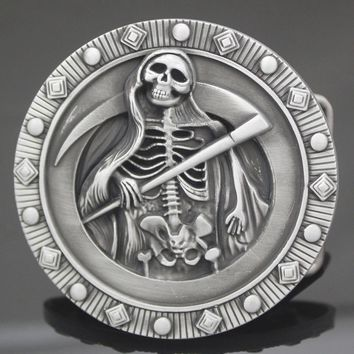 Tribal Western Costume Silver Grim Reaper Skeletons Santa Muerte Pagan Wicca Goth Belt Buckle Costume Men