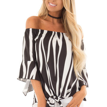 Black and White Striped Off Shoulder Top with Tie Detail