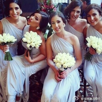 DressyProm Grey Bridesmaid Dress with Pleat Long Formal Wedding Party Dress A-line One Shoulder Long Chiffon Prom Dress DP119 = 1956812100