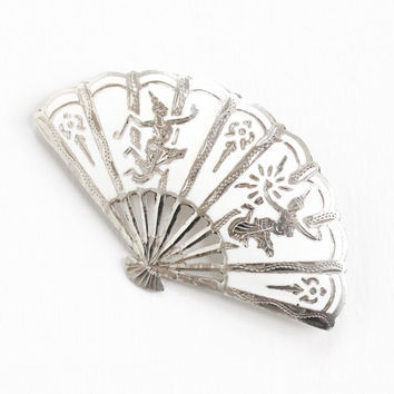 Vintage Sterling Silver Siam Fan Brooch - White Enamel Niello Goddess of Lightning Statement Jewelry Pin