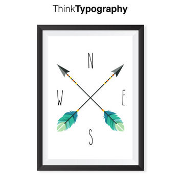 Nursery print, Nautical Decor Arrow Compass Wall Art Print, Arrow Print Tribal Scandinavian Minimalist Nursery Art Home Decor