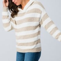 Soft Striped Hoodie - Oatmeal
