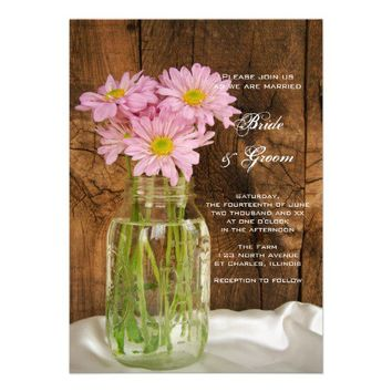 Mason Jar and Pink Daisies Country Wedding Invite from Zazzle.com