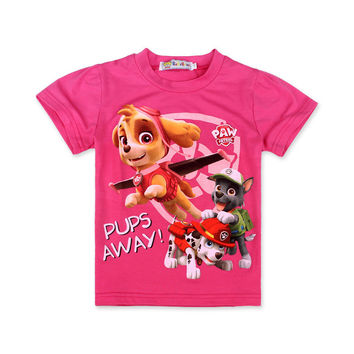 Kids 2017 Girls Summer Dogs Patrol Cartoon Girls T Shirt Tops Tee Children Clothing Dogs PATROL Baby Girls T-Shirt Clothes