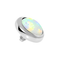 14 Gauge 5mm White Opal Stainless Steel Dermal Anchor Top | Body Candy Body Jewelry