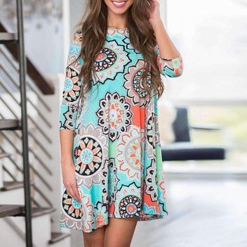 SHIPS FROM USA Womens Summer Vintage Boho Maxi Beach Floral Dress Loose Indian
