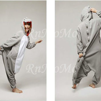 KIGURUMI Cosplay Romper Charactor animal Hooded Night  clothes Pajamas Pyjamas Costume sloth  outfit Sleepwear Gray dinosaur