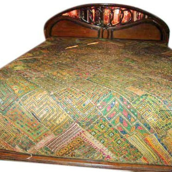 Indian Bedding Mirror Embroidered Bedspread Large Wall Hanging Tapestry India Throw