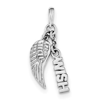 Sterling Silver Rhodium-plated Polished/Textured Wish/Angel Wing Pendant QC8418
