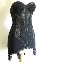 1950's Black Lace Corset Bustier Pin-up
