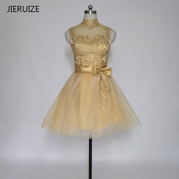 JIERUIZE Gold Lace Appliques Short Cocktail Dresses High Neck Cheap Short Prom Party Dresses robe de cocktail