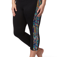 Plus Size - Multicolor Side Capri - Multi