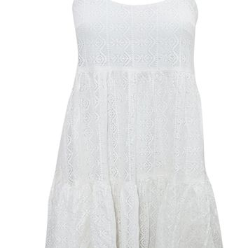 Mogul Interior Womens White Dress Crossback Flare Tiered Flirty Beach Holiday Sundress