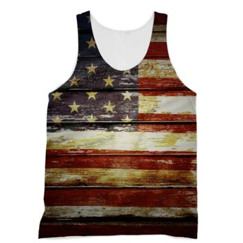 Retro American Flag on Wood Planks American Apparel Sublimation Vest