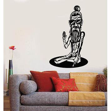Vinyl Wall Decal Buddhism Monk Yoga Sunglasses Hipster Stickers (2666ig)