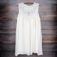 final sale - natural boho crochet lace dress