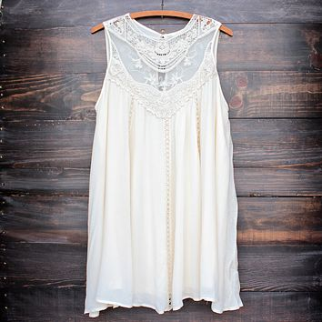 Final Sale - Boho Crochet Lace Dress in Natural