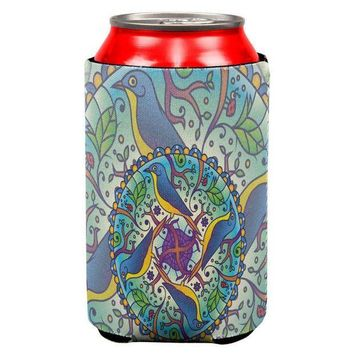 CREYCY8 Mandala Trippy Stained Glass Spring Birds All Over Can Cooler