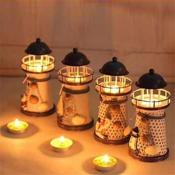 Lantern Candle Holder Vintage Mediterranean-Style Iron Tower Candle Holder Lighthouse Holiday Candlestick Home Wedding Decor