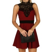 Burgundy Jeweled Skater Dress