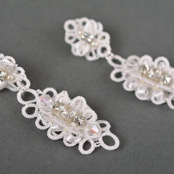 Long earrings homemade jewelry earrings designs tatting lace gift ideas for girl