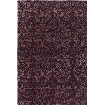 Avignon Medallion and Damasks Area Rug Purple