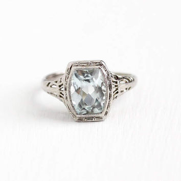 Vintage Art Deco 14k White Gold Filigree Aquamarine Ring - Antique 1920s Size 7 3/4 Icy Light Aqua Blue Gem March Birthstone Fine Jewelry