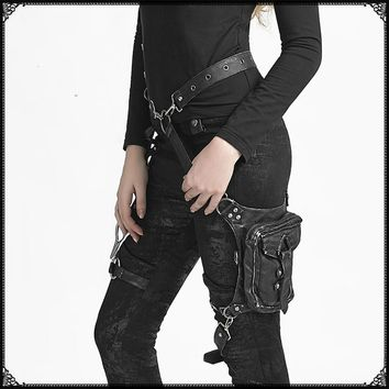 Black Leather Steampunk, Punk Leg Bag Shoulder Bag Gothic Cosplay